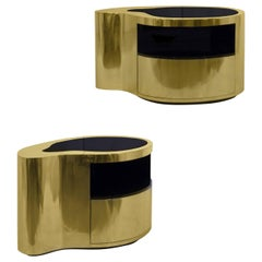 20th Century Gabriella Crespi Inspired Curved Brass Nightstand End Tables