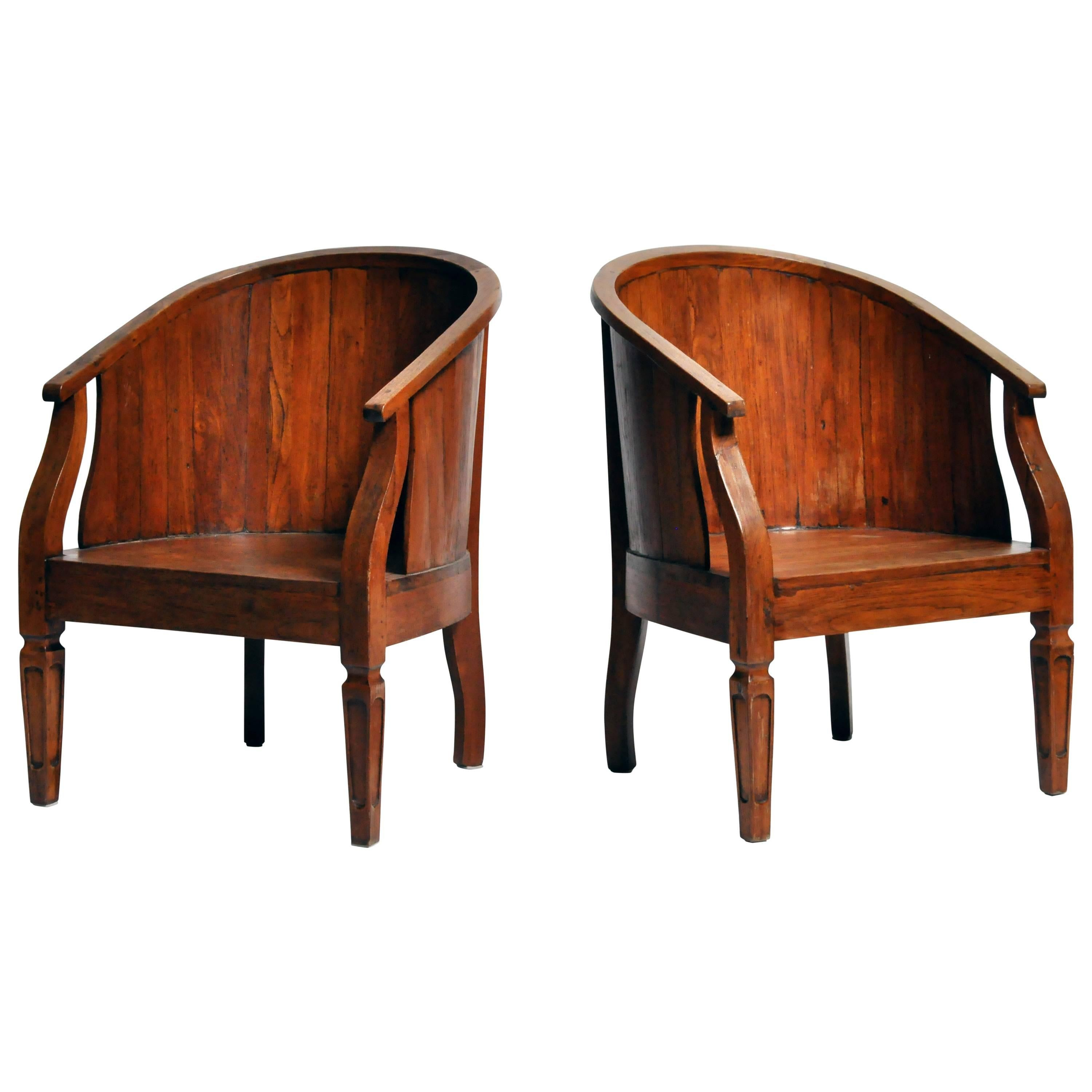 British Colonial Round Back Chairs For Sale