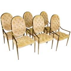 Six 1960s Mastercraft Antiqued Brass Tufted Velvet Dining Chairs