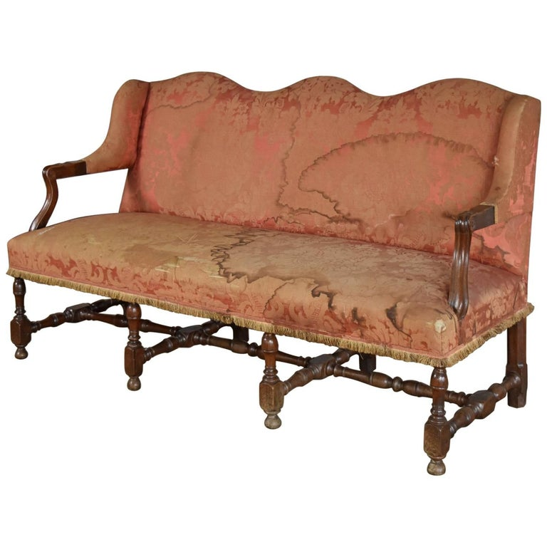 French Louis XIV Three-Seat Walnut Sofa