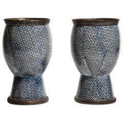 Contemporary Blue and White Ceramic Vases