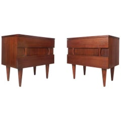 Pair of Midcentury Walnut Nightstands by American of Martinsville