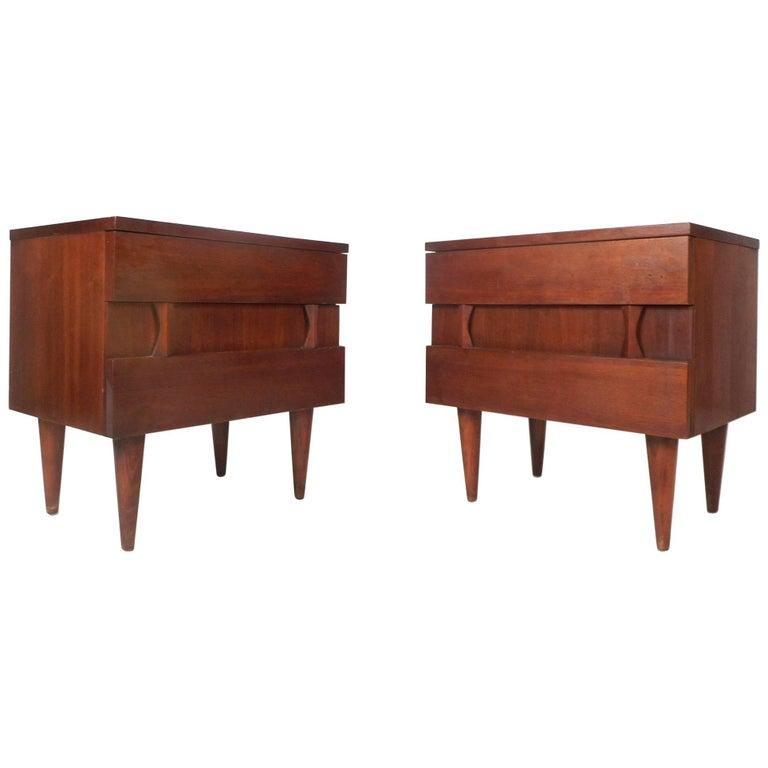 Pair of Midcentury Walnut Nightstands by American of Martinsville