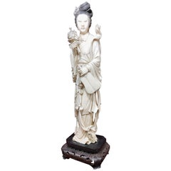 Chinese Carved Qing Ivory Beauty with Flowers