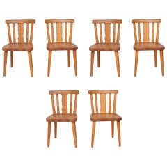 Set of Six French Pine Dining Chairs with Beautiful Centre Splat Details