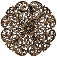 Southeast Asian Round Flower Wood Carving
