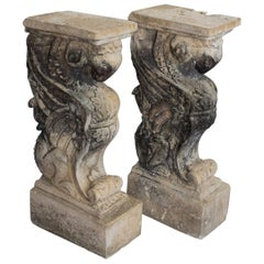 Antique Pair of English Stone Griffin Supports