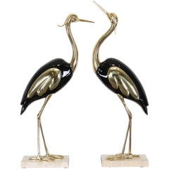 Pair of Large Italian Antonio Pavia Style Egrets on Marble Base, 1980s