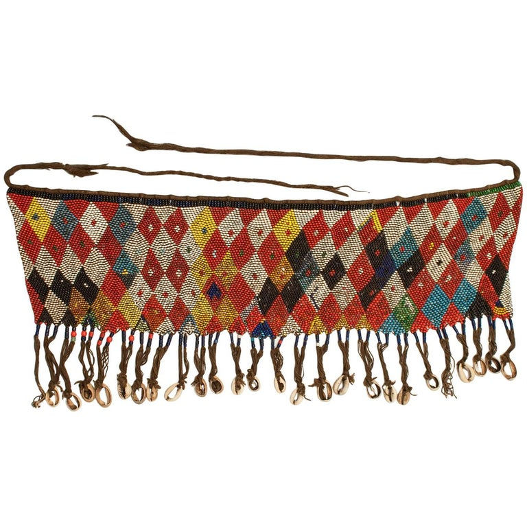 Early to Mid-20th Century Tribal Glass-Beaded Modesty Apron Cache-Sexe, Cameroon