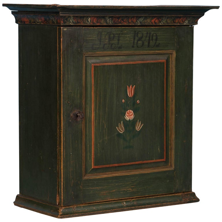 Antique Swedish Green Painted Wall Cabinet