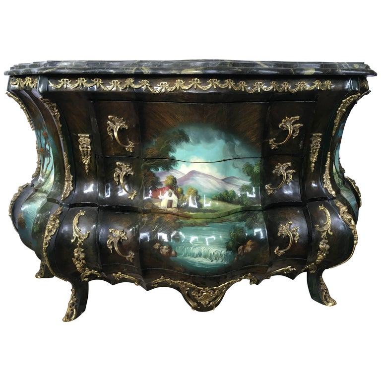 French Louis XV Hand-Painted Marble Bombe Chest Commode Dresser Bronze Mounts
