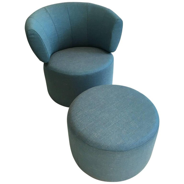 rolf benz 684. RB 684 Swivelling Armchair And Ottoman In Aqua Blue Fabric By Rolf Benz For  Sale Rolf Benz