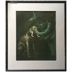 "William Wegman Original Print ""Elephant Dog' Framed"