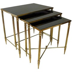 Trio French Bagues Style Brass Nesting Tables