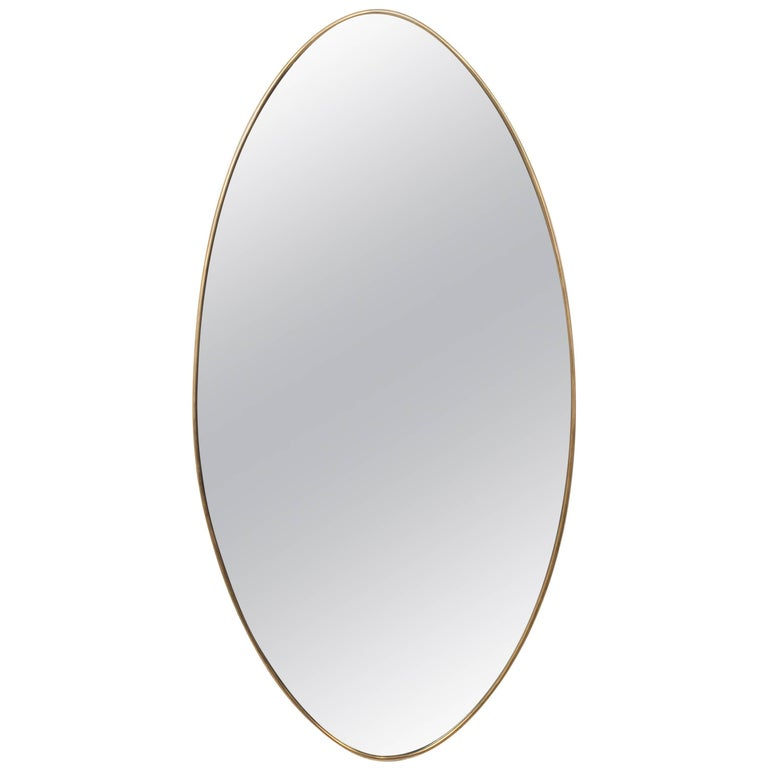 Elongated French Brass Oval Mirror