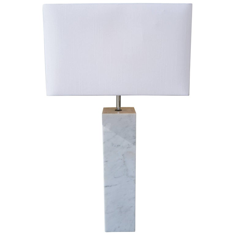 Italian 1960s Carrara Marble Column Table Lamp