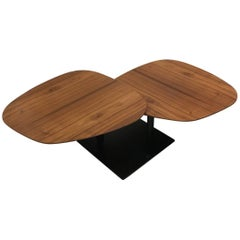 Waage Coffee Table with Rotating Walnut Wood Tops and Black Base by Draenert