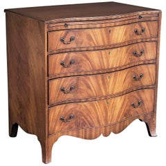 English Serpentine Small Chest of Flame-Cut Mahogany