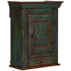 Antique Danish Green Painted Wall Cabinet
