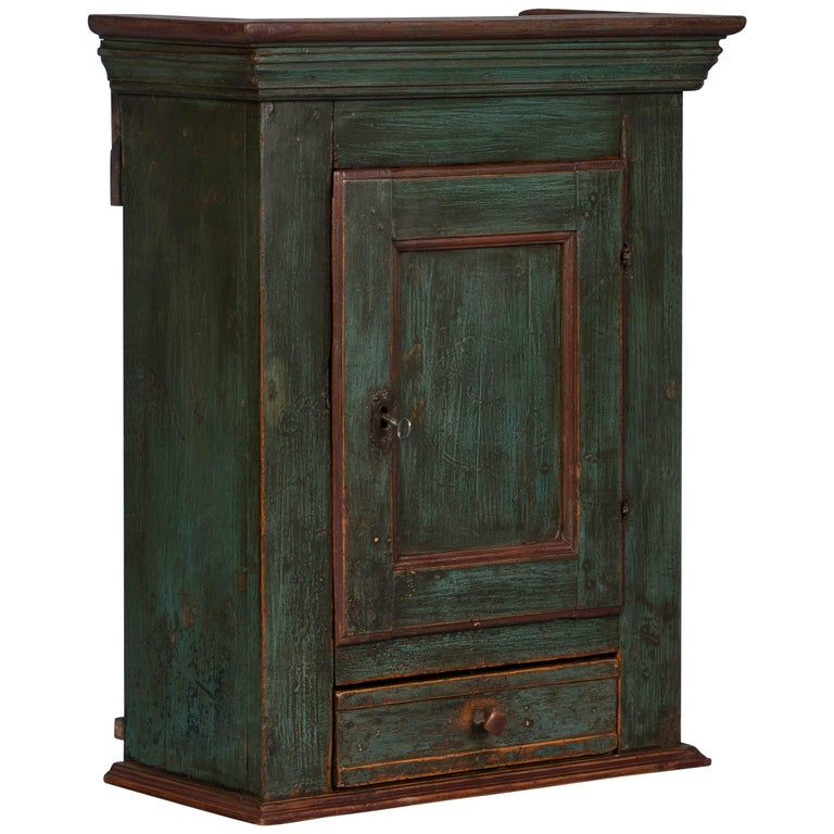 Antique Danish Green Painted Wall Cabinet For Sale - Antique Danish Green Painted Wall Cabinet For Sale At 1stdibs