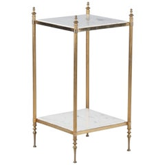 French Two-Tiered Brass Side Table with Marble Tops, 1960s