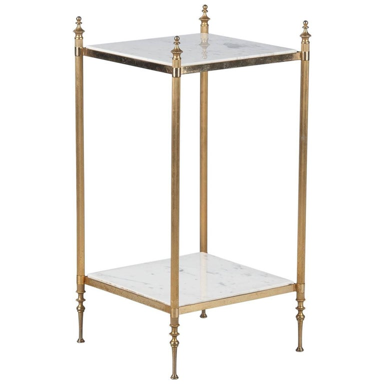 French Two-Tiered Brass Side Table with Marble Tops, 1960s For Sale