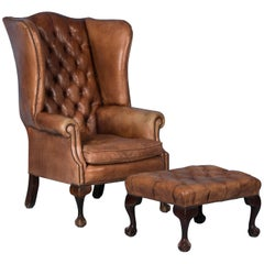 Vintage English Leather Wingback Chair and Stool