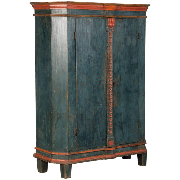 Antique Late 18th Century Swedish Armoire with Original Blue Paint