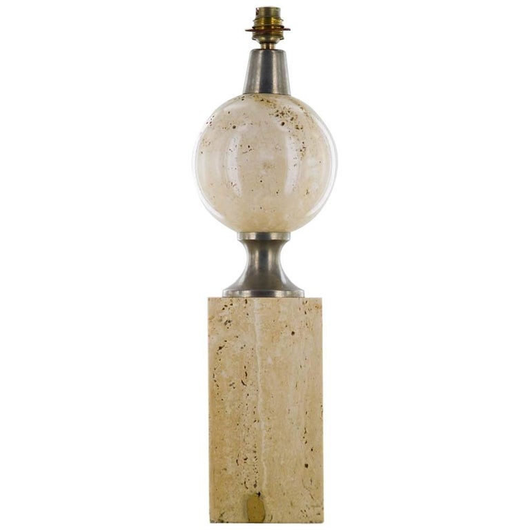 Philippe Barbier Desk Lamp in Travertine, France, circa 1970, Mid-Century Modern