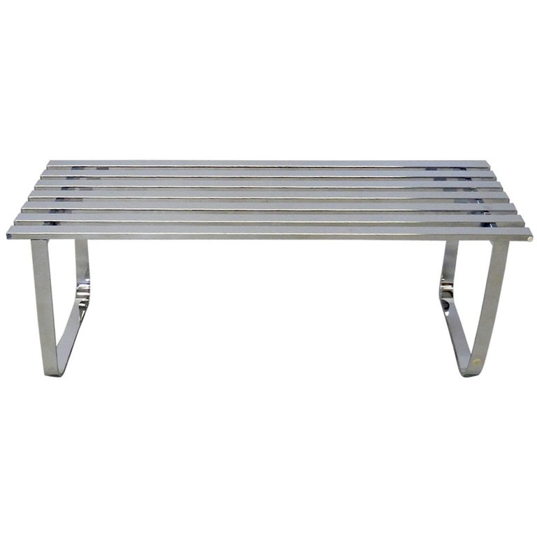 Milo Baughman for DIA Chrome Slat Bench Coffee Table