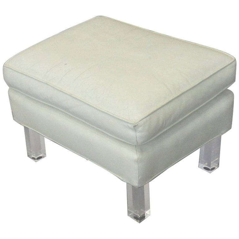 Springer Era 1970s White Leather Ottoman on Lucite Legs
