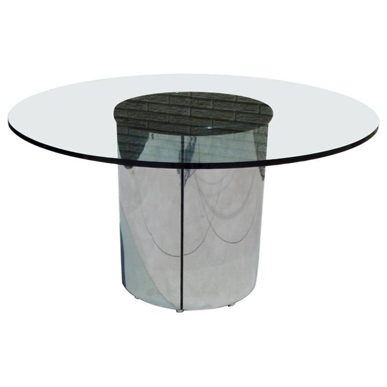Large Round Glass Top Pace Table with Stainless Steel Base For Sale