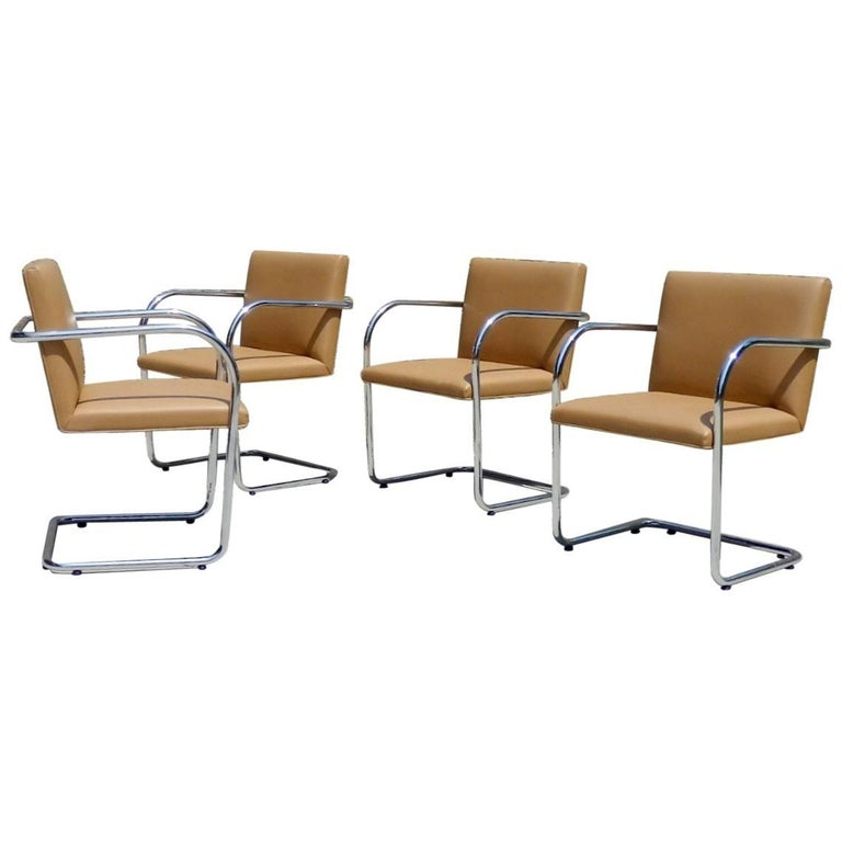 Four Knoll Mies van der Rohe Brno Chrome Tube Chairs For Sale