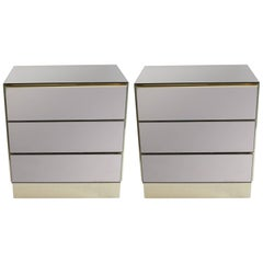 Pair of Ello Smoked Mirror Nightstands