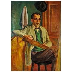 Peter Siabkyn, Self-Portrait, Oil on Canvas Painting, 1928