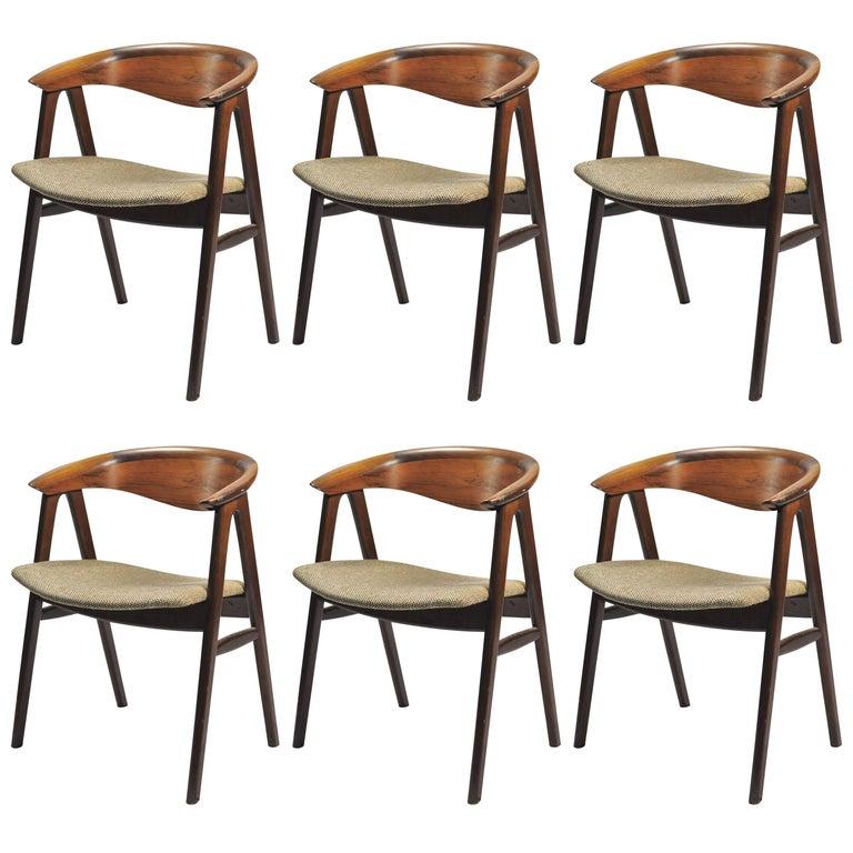1950s Set of Six Erik Kirkegaard Reupholstered Dining Chairs in Rosewood