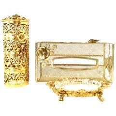 20th Century Rococo Style 24-Karat Gold Gilt Brass Three-Piece Vanity Set