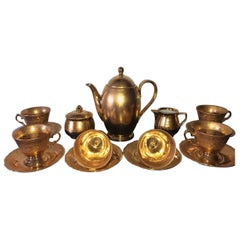 Midcentury Modern Tea Set Limoges France 22k Gold
