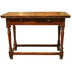 Italian Baroque Rectangular Rustic Walnut Wood Trestle Table