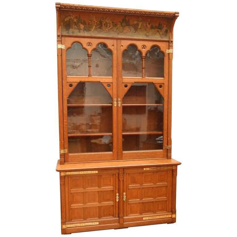 Gothic Revival Oak Bookcase