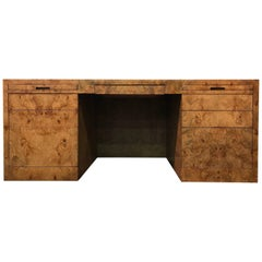 Midcentury Executive Desk in Burl Wood by Directional Furniture