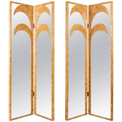 Vivai del Sud Pair of Bamboo Mirrored Panels or Four-Panel Screen, Italy, 1970s