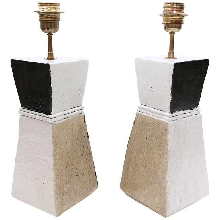 Salvatore Parisi, Pair of Ceramic Table Lamps