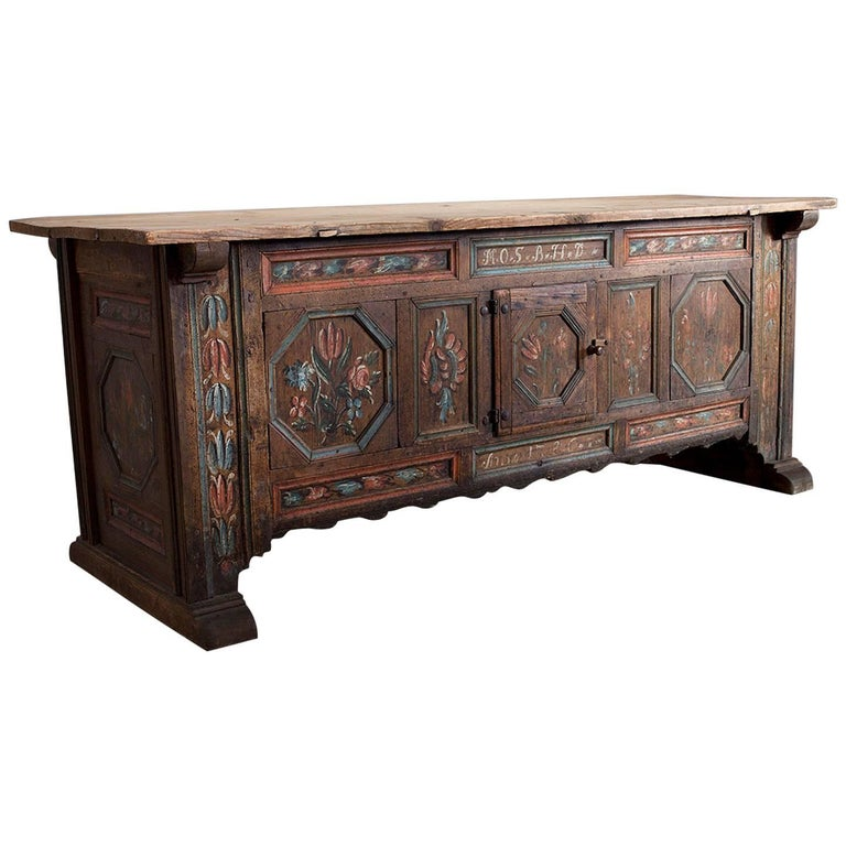 Rare Swedish Kistbord Med Dörr, 18th Century Sideboard, Inscribed and Dated 1786