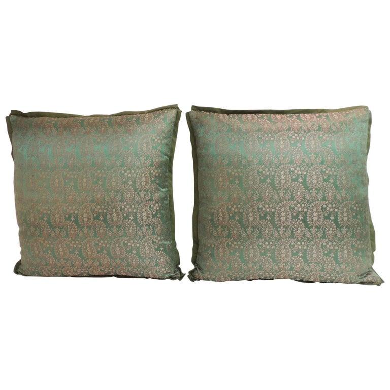 Pair of 19th Century Embroidery Indian Sari Decorative Pillows