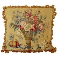 Aubusson Style Large Tapestry Decorative Pillow
