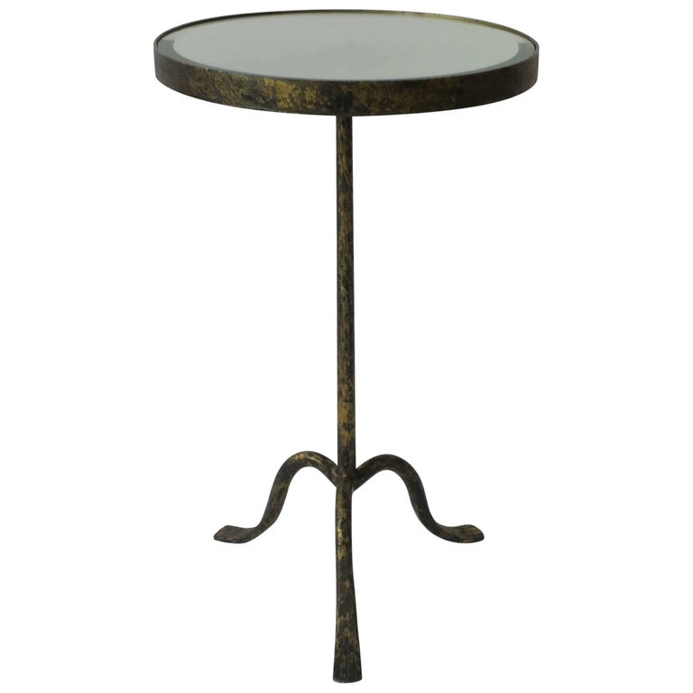 Gold Gilt Round Side Table with Mirror Glass Top