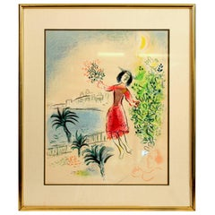"""Marc Chagall 1970 Color Lithograph Charles Sorlier """"Bay of Nice"""" Framed Ed. 3000"""