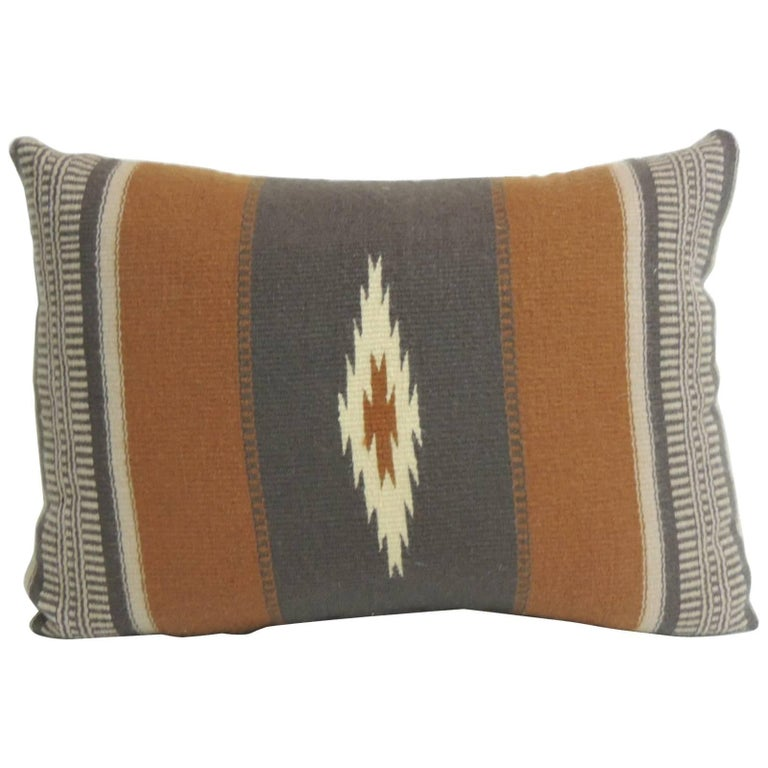 CLOSE OUT SALE: Vintage Gray and Brown Southwestern Style Woven Bolster Pillow