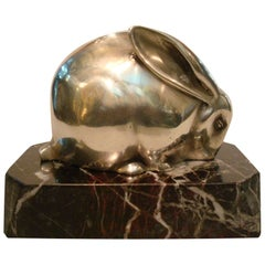 Art Deco Silvered Bronze Sculpture of a Hare or Rabbit, Edouard Marcel Sandoz